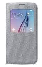 Etui Samsung S View Cover Textil Srebrne do Galaxy S6 EF-CG920BSEGWW