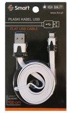 SmartGPS Płaski kabel Apple Lighting Biały do iPhone 5/5s/6/6s