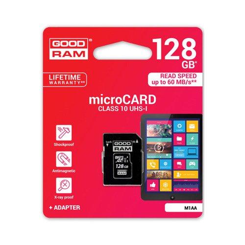 Goodram Karta pamięci microSDXC 128GB CL10 UHS 1 z adapterem