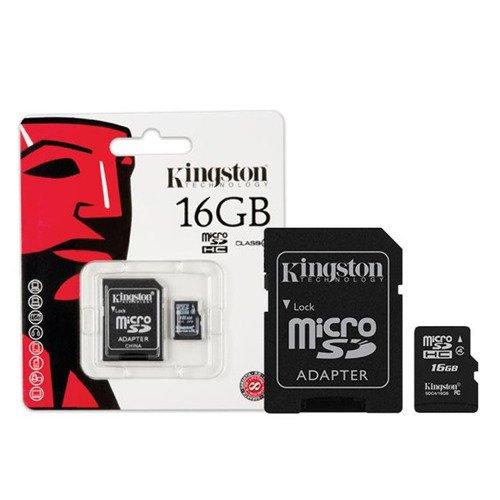 KINGSTON Karta Pamięci microSDHC 16GB z adapterem SDC4/16GB