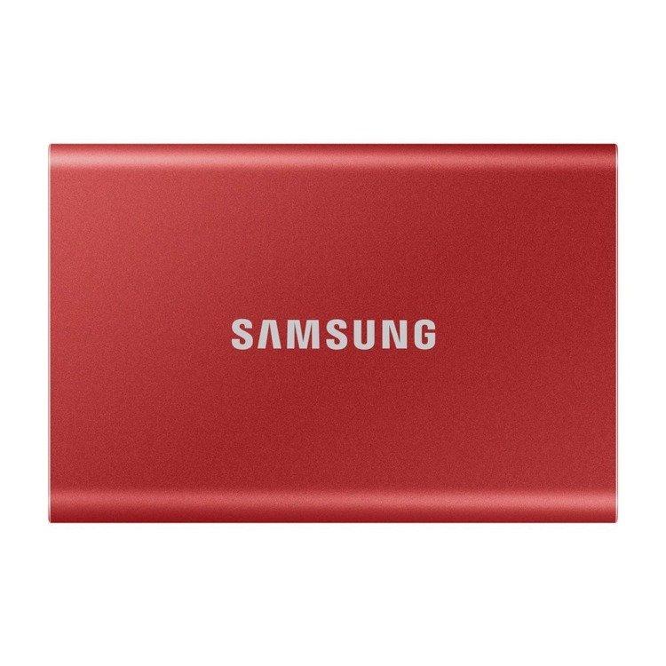 SAMSUNG T7 Dysk zewnetrzny SSD 500GB Czerwony USB 3.2 (MU−PC500T/WW)