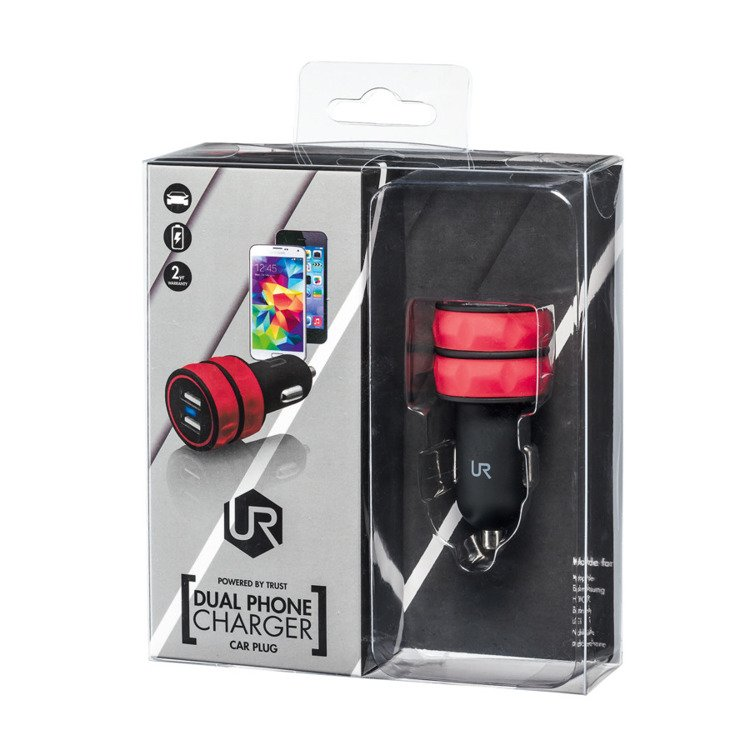 TRUST URBAN Ładowarka Samochodowa DUAL USB Czerwona